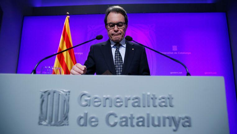 Artur Mas kondigde vanmiddag aan maandag verkiezingen uit te schrijven. Beeld REUTERS