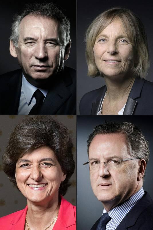 François Bayrou, Marielle de Sarney (à droite), Sylvie Goulard et Richard Ferrand