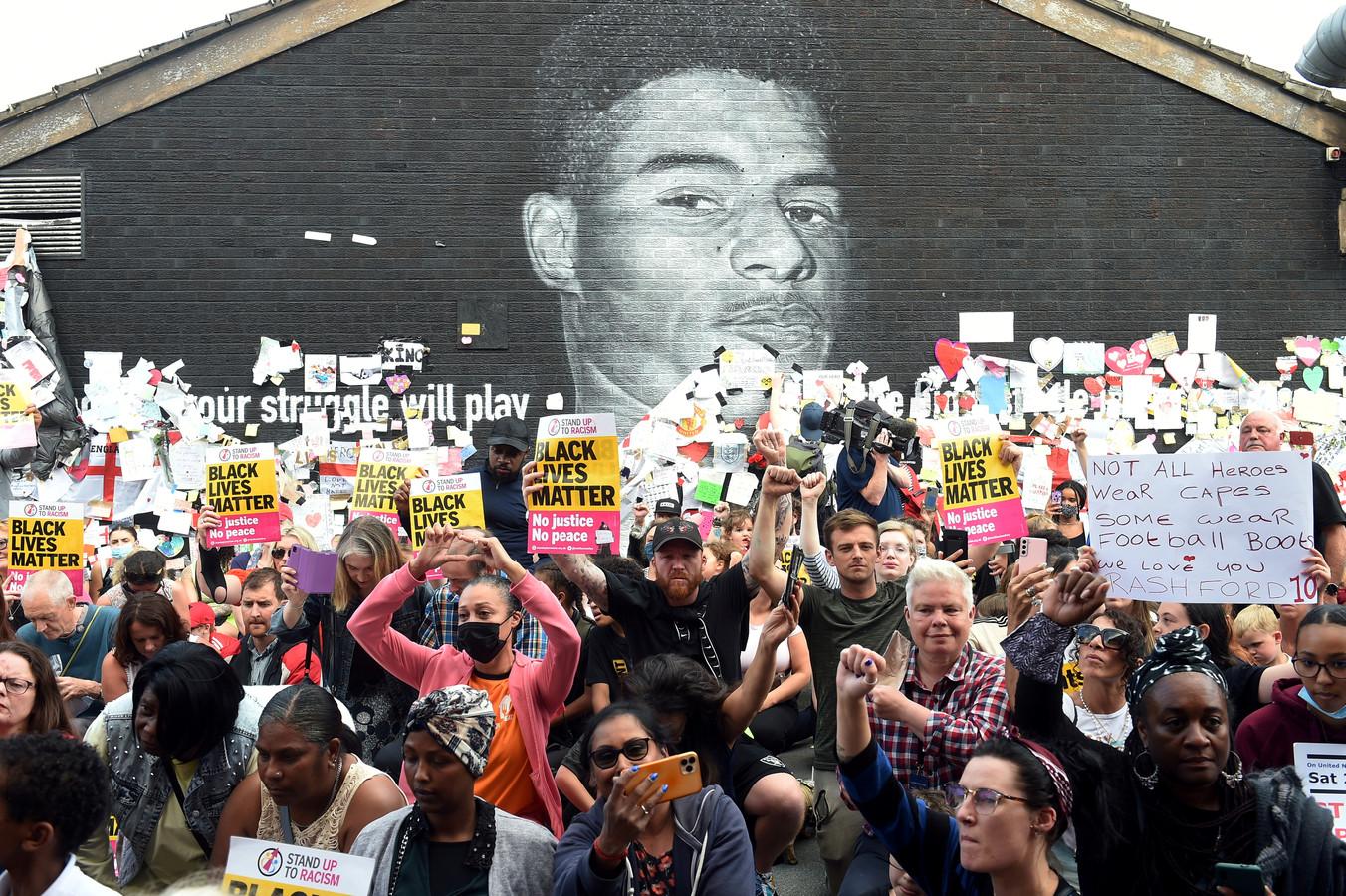 Een demonstratie tegen racisme na de EK-finale.