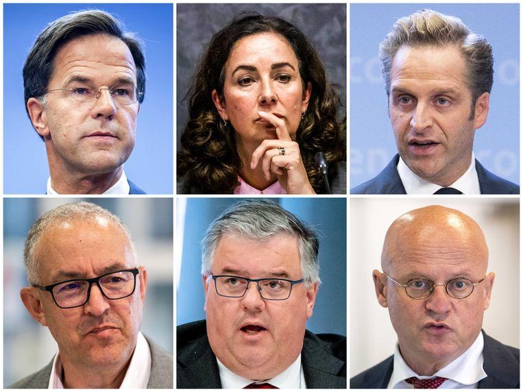 Rutte, Halsema, De Jonge, Aboutaleb, Bruls en Grapperhaus. Beeld ANP