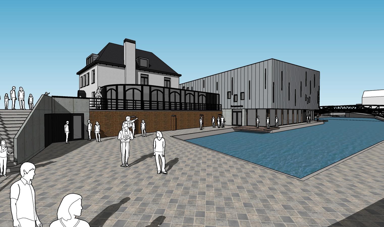 Impressie van de bioscoop met horeca aan de Nieuwe Bierkaai in Hulst.