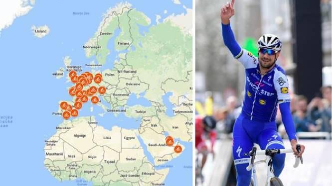 IN KAART: Tom Boonen reed als prof 12 keer de wereld rond en was daarin goed voor 201 zeges