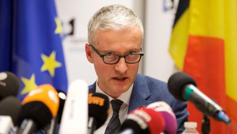 Federaal magistraat Thierry Werts tijdens de persconferentie. Beeld BELGA