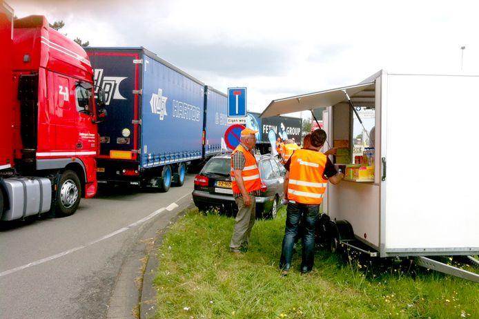 Een protestbijeenkomst van vrachtwagenchauffeurs in 2014 in Dongen.