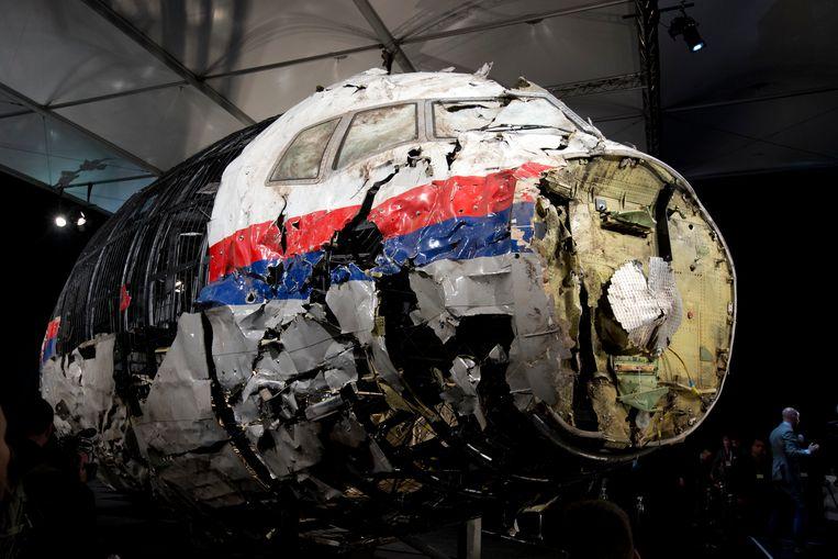 Archiefbeeld. Het gereconstrueerde wrak van vlucht MH17. Beeld AP