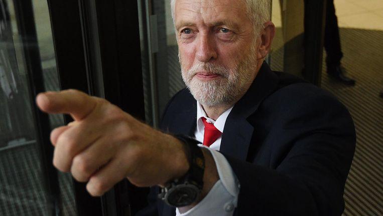 Jeremy Corbyn op het hoofdkantoor van Labour. Beeld epa