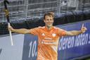 Jeroen Hertzberger vorige maand tijdens het gewonnen EK in Amstelveen.
