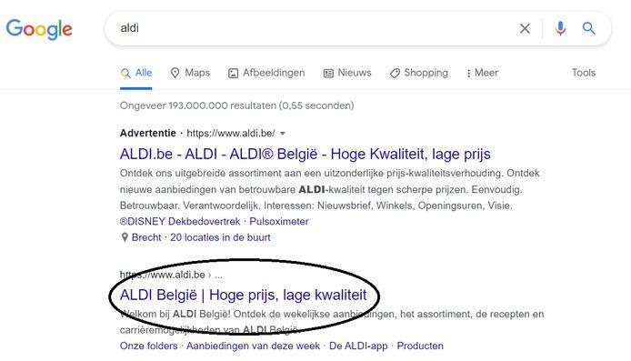 Intussen is het op de advertentie die naar de website van Aldi gaat opgelost. Maar bij de tweede link staat de fout nog steeds omdat Google die pagina nog opnieuw moet indexeren.