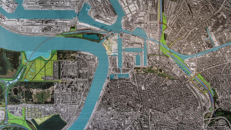 Illustratie van de geplande Oosterweelverbinding in Antwerpen Beeld BELGA