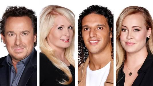 De coaches in het huidige seizoen van The Voice, Marco, Sanne Hans, Ali B en Anouk.