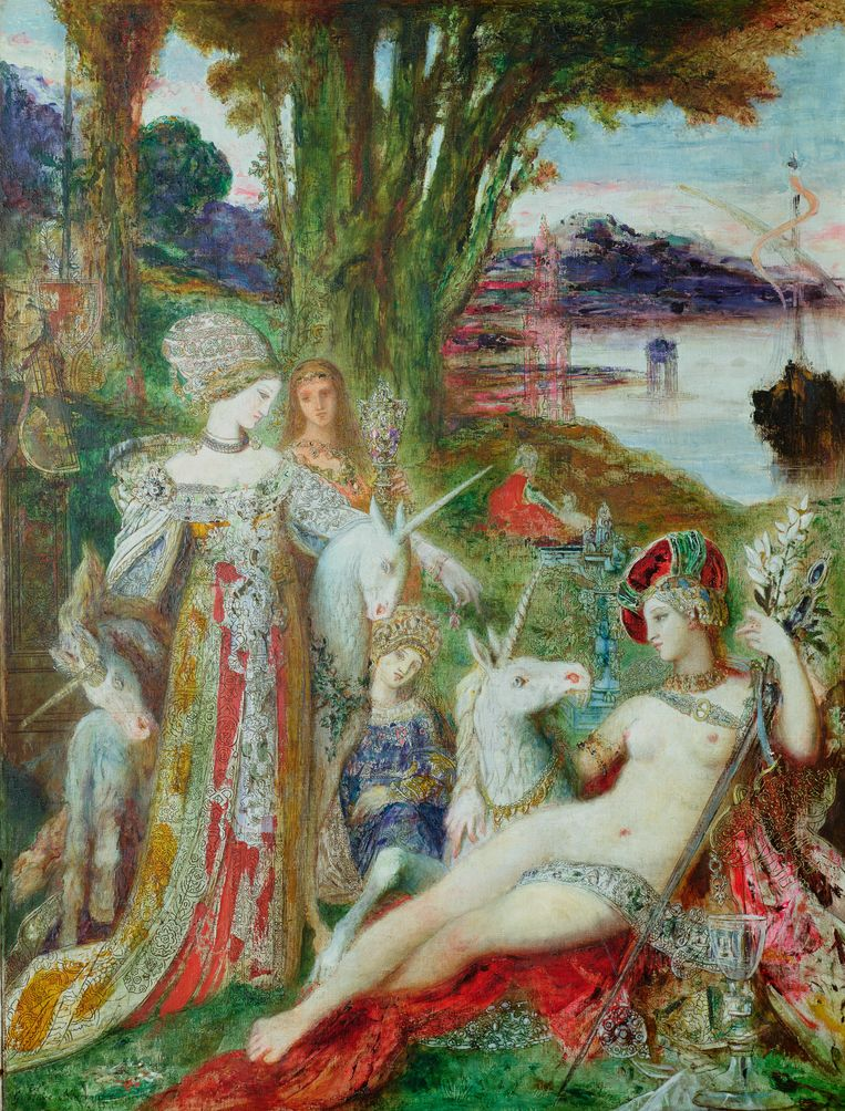 The Unicorns door Gustave Moreau (1850-98). Beeld © The Gallery Collection/Corbis
