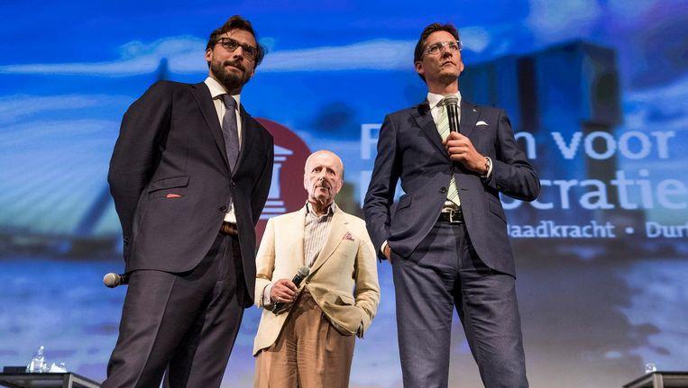 Baudet, Hiddema en Eerdmans op het podium in Rotterdam. Beeld Freek van den Bergh / de Volkskant