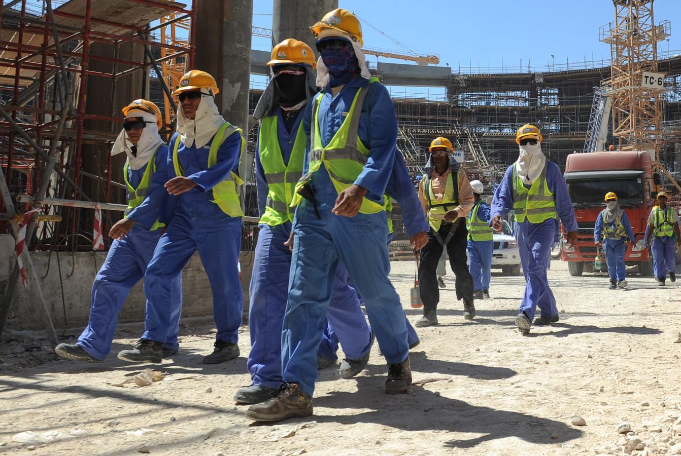 Bouwvakkers aan het werk in Doha.