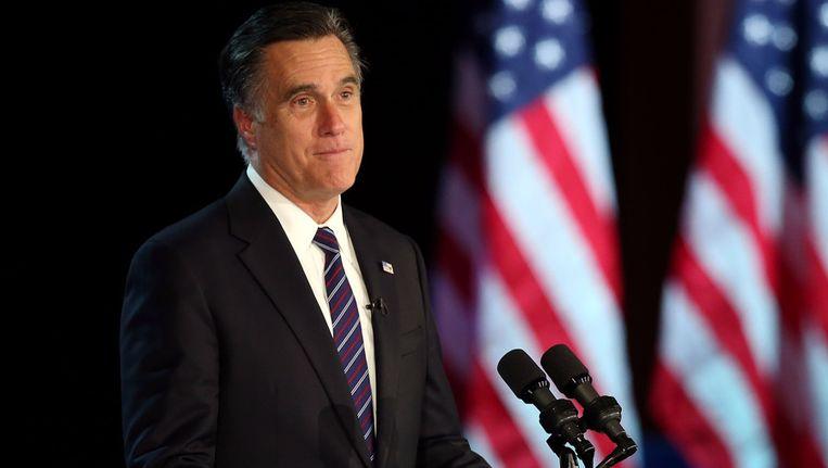 Mitt Romney na zijn verkiezingsnederlaag. Beeld afp
