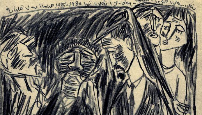 Een tekening van kunstenaar Sadik Kwaish Alfraji.