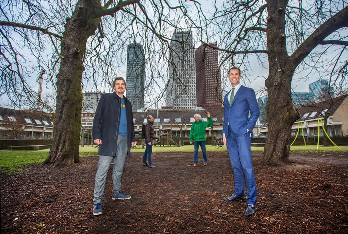 Arjen Kapteijns (L) en wethouder Hilbert Bredemeijer bij de bomen aan de Hekkelaan met uitzicht op de Haagse Skyline.