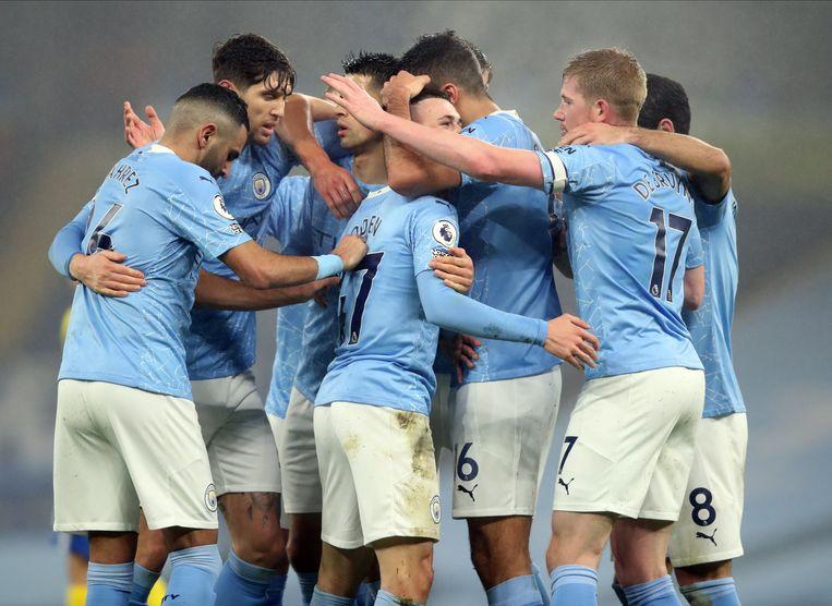 doelpunt tijdens de Engelse Premier League-voetbalwedstrijd tussen Manchester City en Brighton Hove Albion in Manchester. Beeld EPA