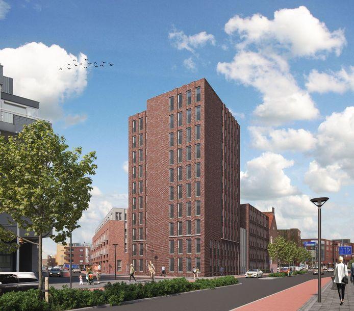 Het oude Rabobank-kantoor krijgt een hele nieuwe aanblik. Deze artist impression laat zien hoe het gebouw er aan de kant van de Markendaalseweg uit gaat zien.