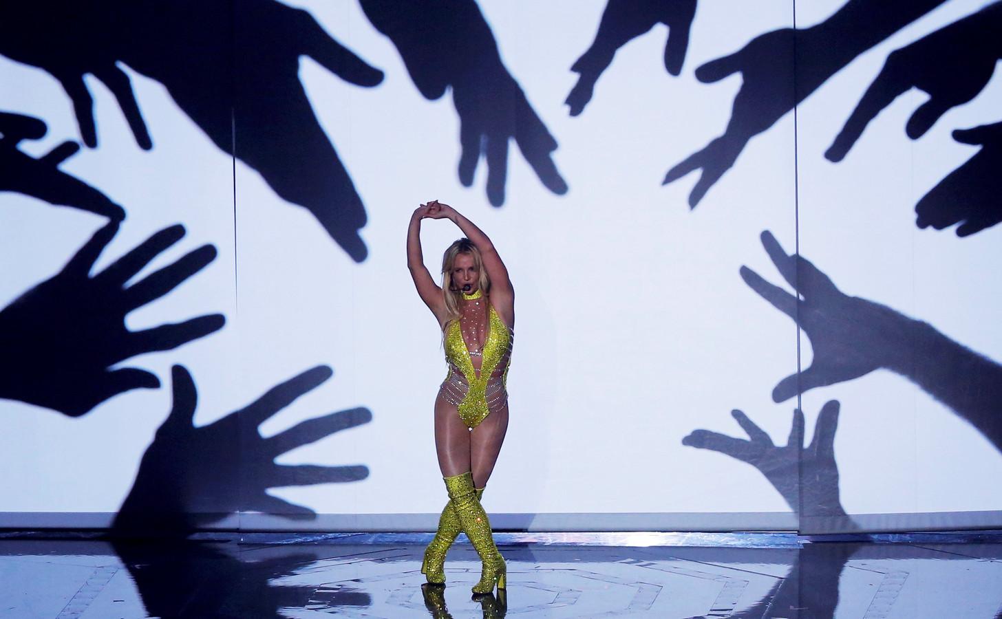 Britney Spears tijdens een optreden in 2016