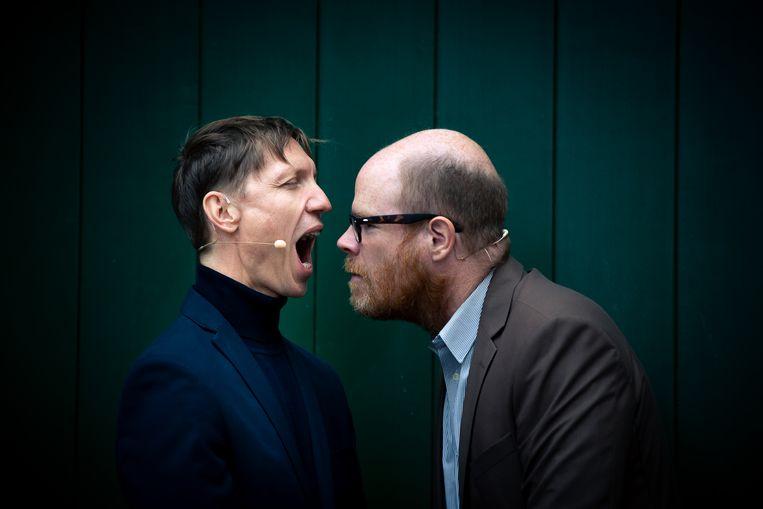 Valentijn Dhaenens en Bruno Vanden Broecke in 'Jonathan' (KVS). Beeld Danny Willems