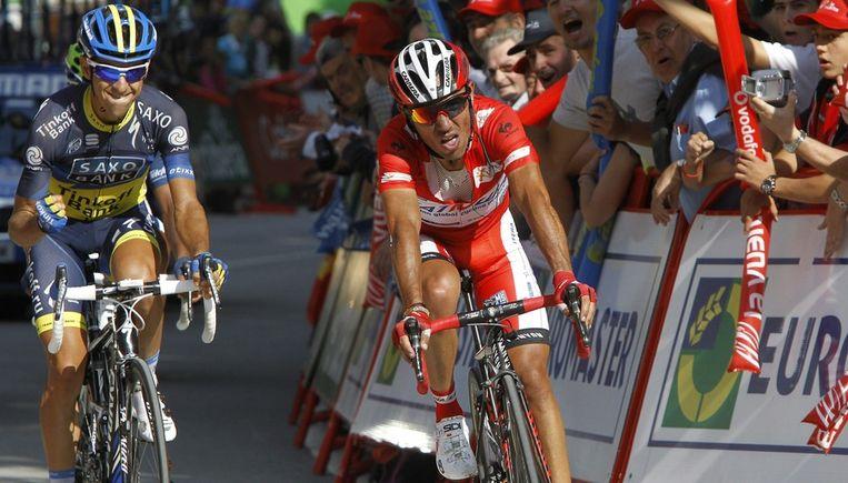 Rodriguez kwam gelaten binnen, in tegenstelling tot de ploegmakker van Contador Beeld EPA