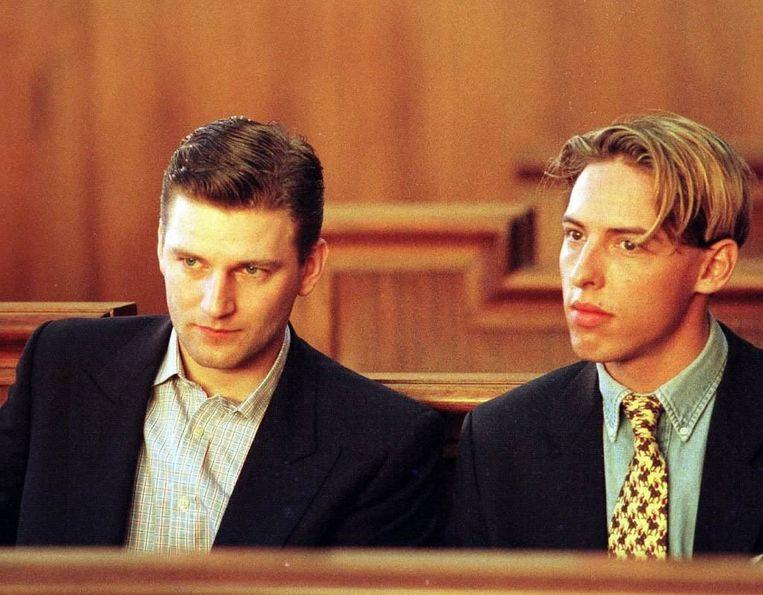 Olivier Trusgnach (links) en een vriend in 1997. Beeld BELGA