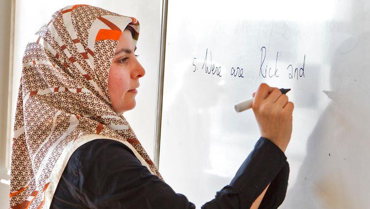 Onderwijs in het inmiddels gesloten Islamitisch College in Amsterdam Beeld ANP