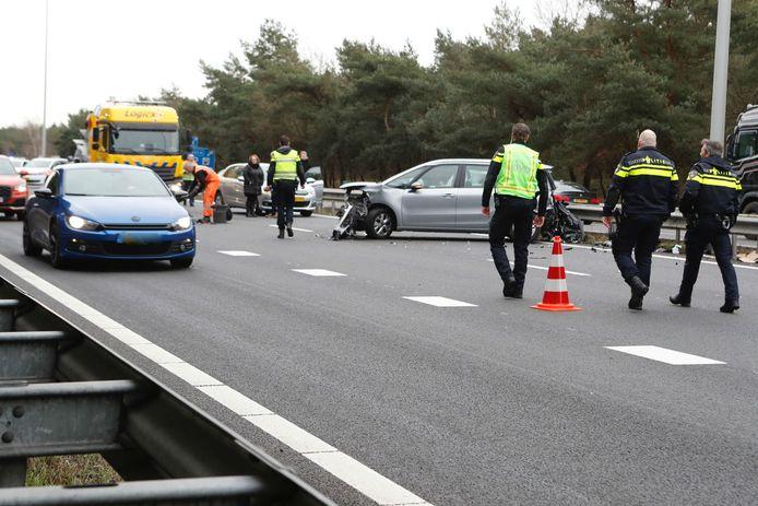 Ongeluk op A67 met meerdere voertuigen