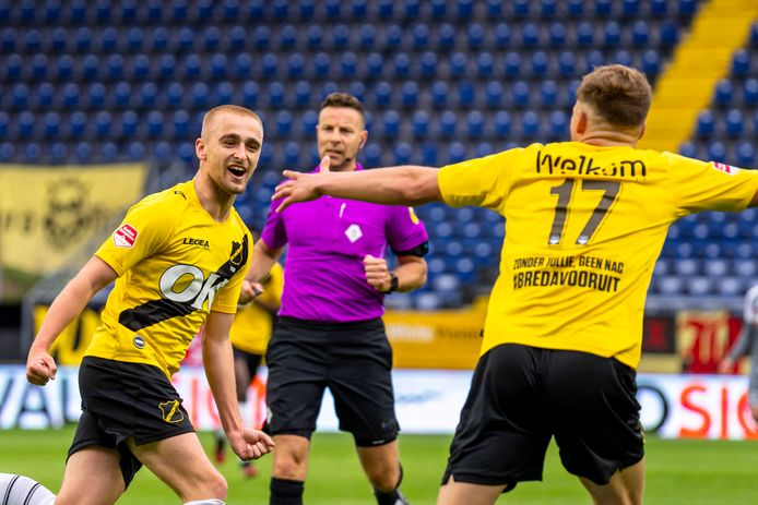 NAC-speler Lewis Fiorini celebrating the goal during the play off match NAC - Volendam (play off)
