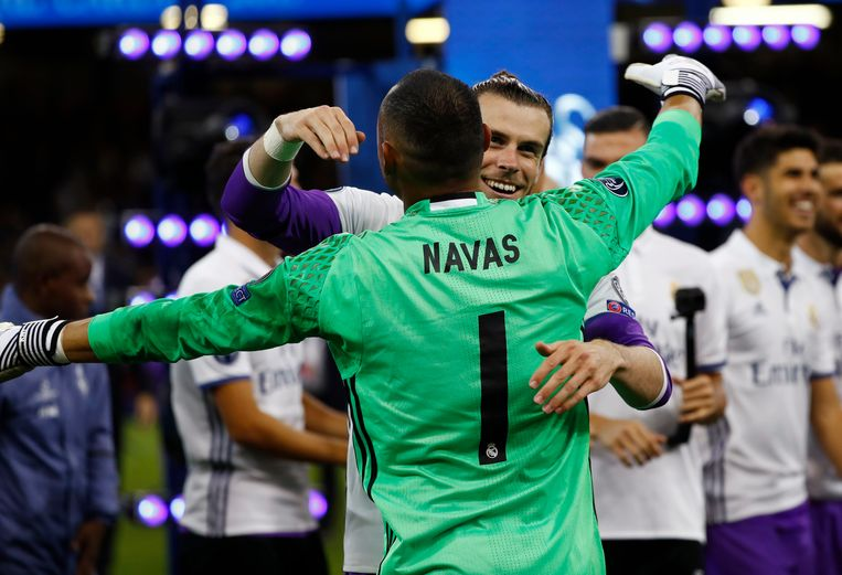Britain Soccer Football - Juventus v Real Madrid - UEFA Champions League Final - The National Stadium of Wales, Cardiff - June 3, 2017 Real Madrid's Gareth Bale and Keylor Navas celebrate after the match Reuters / Eddie Keogh Livepic © PHOTO NEWS / PICTURE NOT INCLUDED IN THE CONTRACTS  ! only BELGIUM ! Beeld null