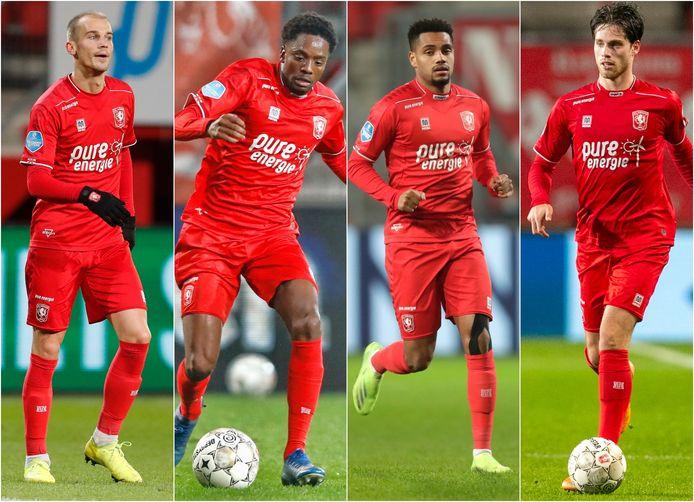 De oud-Ajacieden die dit seizoen voor FC Twente spelen: Cerny, Menig, Danilo en Pierie (vlnr).