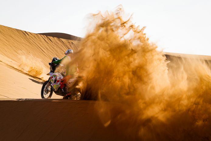 Pierre Cherpin, Husqvarna, tijdens de tweede etappe van de Dakar Rally.