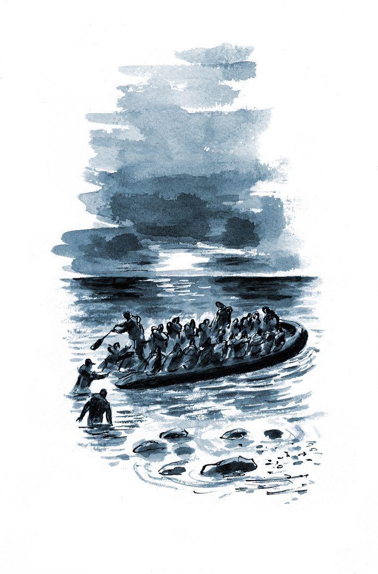 Hosseini knoopt aan bij de dramatische geschiedenis van de driejarige Syrische vluchteling Aylan Kurdi. Beeld Dan Williams