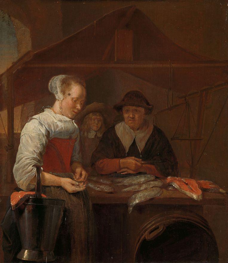 Vanaf de zeventiende eeuw is een zwarte 'pleister' te zien op schilderijen, zoals op 'De visvrouw' (1660) van Quiringh van Brekelenkam.  Beeld Rijksmuseum