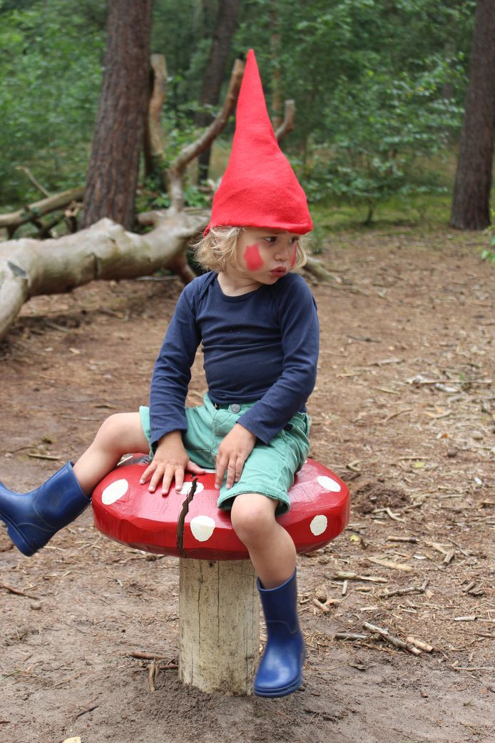 TUINKABOUTER - 'Op een grote padddenstoel, rood met witte stippen... zat kabouter Freek Poots heen en weer te wippen'. Dit was op de kabouterroute van natuurmonumenten in Sint Anthonis.