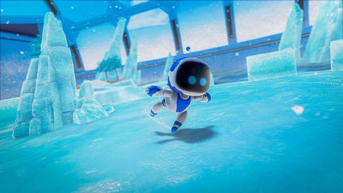 Screenshot uit 'Astro's Playroom', de demogame die standaard al op de console staat.