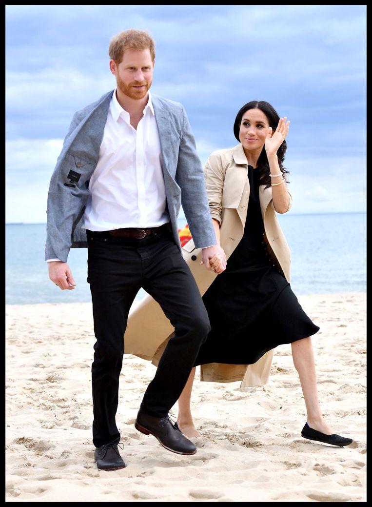 Prins Harry en Meghan op het strand van Melbourne