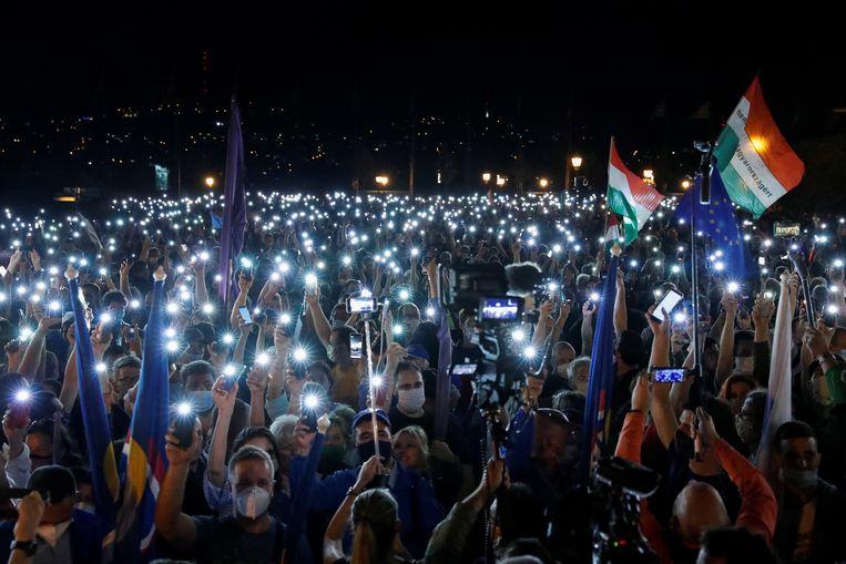 In Hongarije werd in juli gedemonstreerd voor persvrijheid.  Beeld Reuters