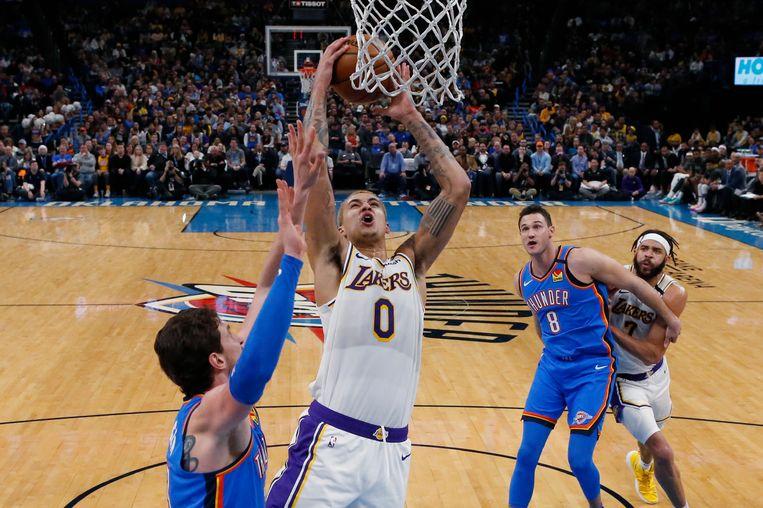 Kyle Kuzma in actie voor de Lakers.
