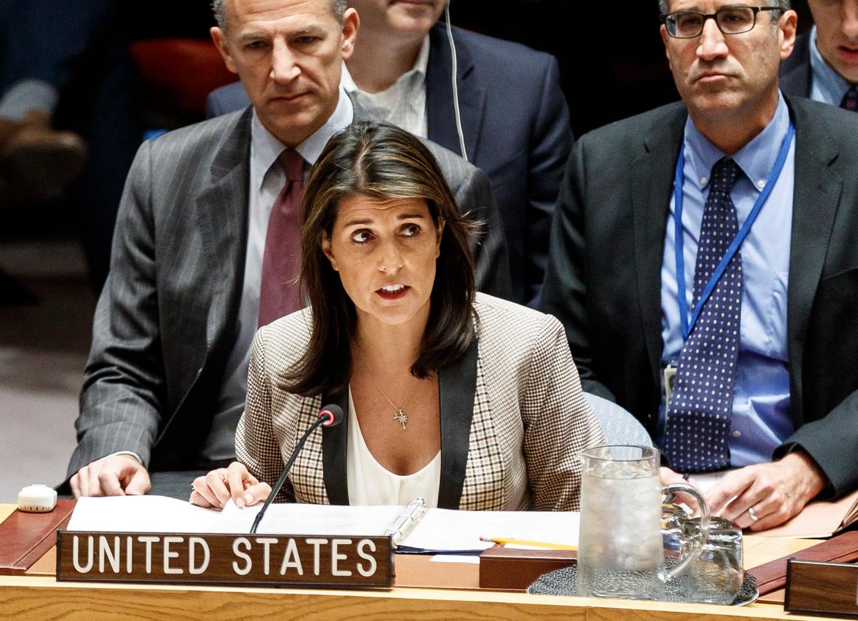 Nikki Haley nam in 2018 ontslag als Amerikaans ambassadrice bij de VN. Trump zou gesuggereerd hebben dat hij een affaire met haar had.