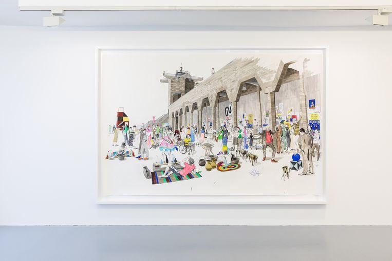 Charles Avery , Untitled (City wall market scene). Beeld Natascha Libbert