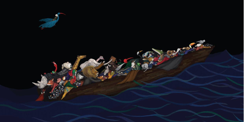 In 'Migranten' van Issa Watanabe moet een groep dieren op zoek naar een  nieuwe plek om te leven. Beeld RV