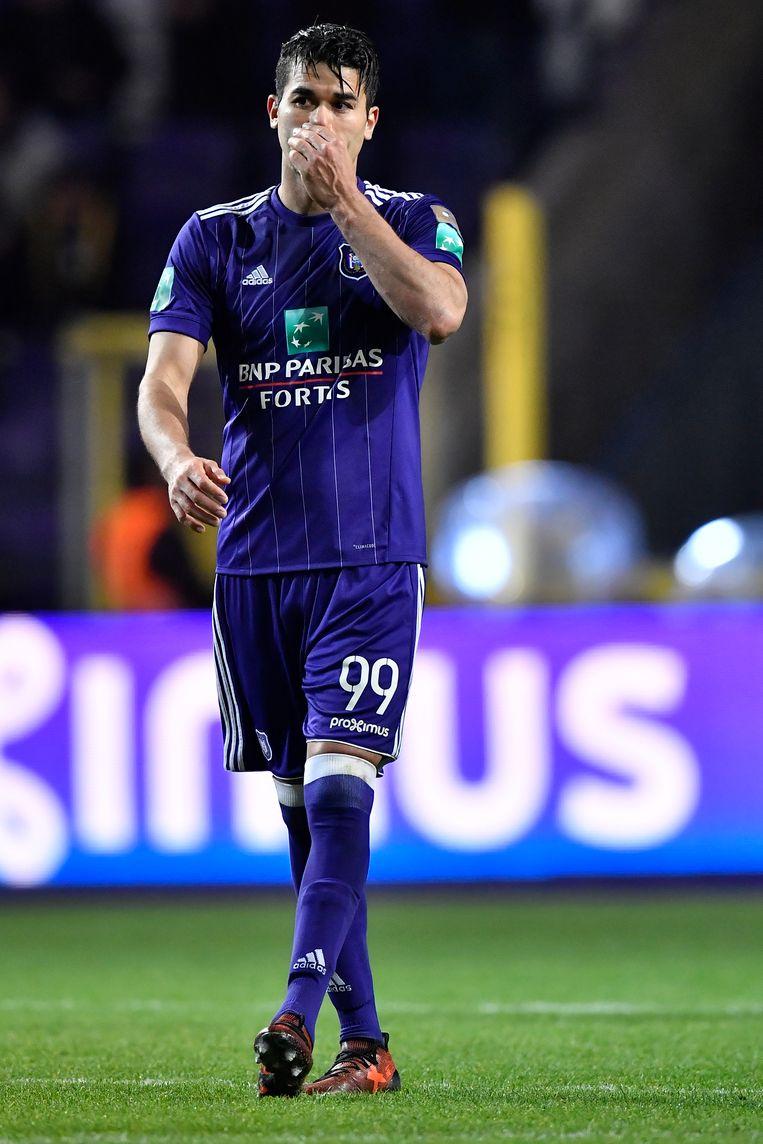 Hamdi Harbaoui tijdens Anderlecht-Club Brugge van dit seizoen.