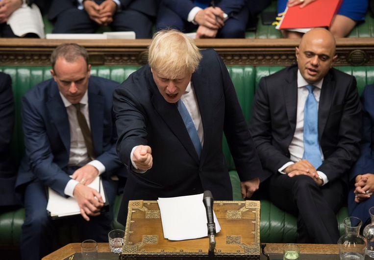 Boris Johnson tijdens zijn debuut als premier in het Lagerhuis Beeld AP