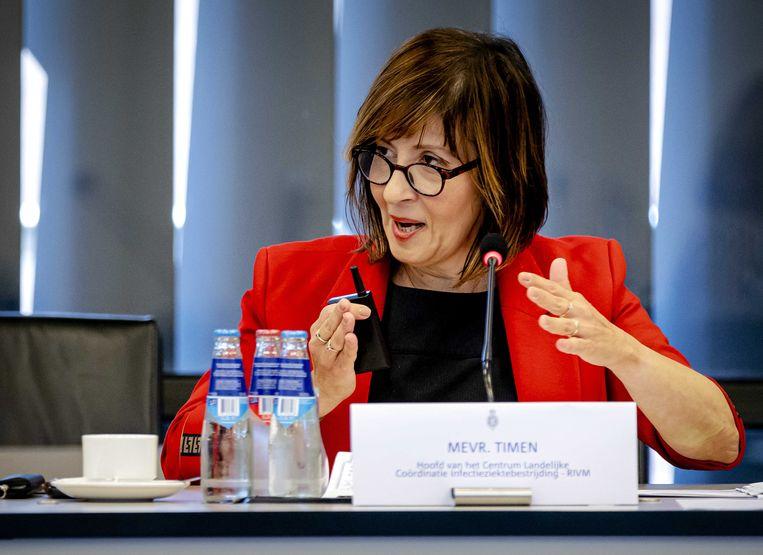 RIVM-hoofd Aura Timen in de Tweede Kamer tijdens een technische briefing over het coronavirus.  Beeld ANP