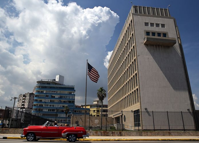 De Amerikaanse ambassade in Havana.