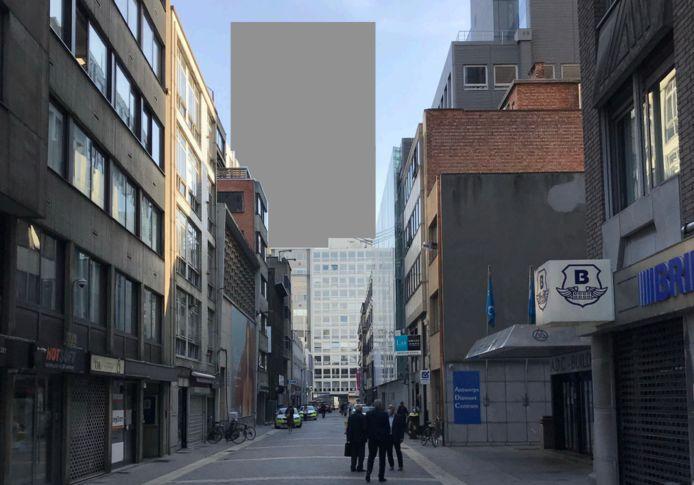 Mochten er torens van 100 meter hoogte worden gebouwd in het gebied tussen Pelikaanstraat, Lange Kievitstraat en Lange Herentalsestraat, dan zou dat er vanuit de Hovenierstraat (het hart van de diamantwijk) zo kunnen uitzien.