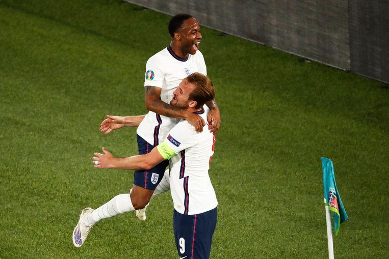 Sterling en Kane maakten samen zes van de acht doelpunten, in vijf duels. Beeld AFP