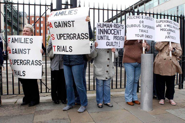 Archiefbeeld van protest in Belfast tegen zogenaamde 'supergrass'-processen.