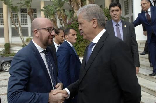 Le Premier ministre Charles Michel avec son homologue algérien Abdelmalek Sellal.